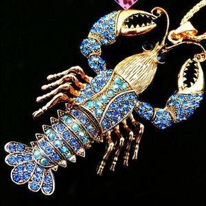 Lobster 🦞 Blue Crystal Pendant Necklace